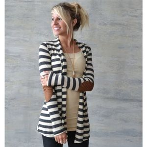 Sweaters - SALE! Was $32 Striped Cardigan With Elbow Patches